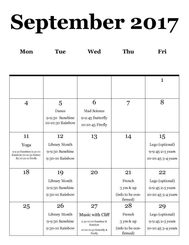 September programming calendar